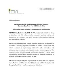 IMN Reveals Results of Benchmark E-Marketing Research, .Based on Data  From Over 100 Million E-Mails