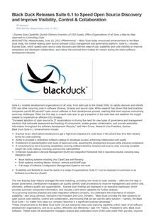 Black Duck Releases Suite 6.1 to Speed Open Source Discovery and Improve Visibility, Control & Collaboration