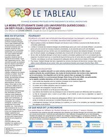 La mobilité étudiante dans les universités québécoises: un défi pour l'enseignant et l'étudiant