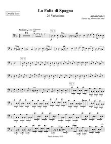 Partition Double Basses, 26 Variations on La Folia di Spagna, D minor