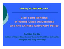 Jiao Tong Ranking of World–Class Universities and the Chinese ...