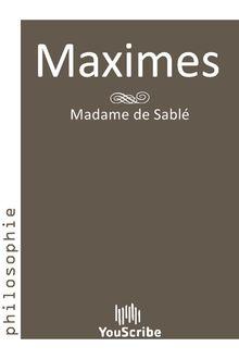 Maximes de Madame de Sablé - fiche descriptive