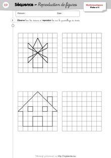Séquence Géométrie CP – Reproduction sur quadrillage - Les fiches d'exercices