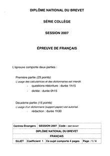 Brevet 2007 français