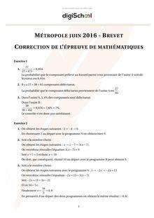 Correction épreuve de mathématique brevet des collèges 2016