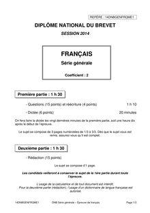 Sujet 2014 du brevet de français