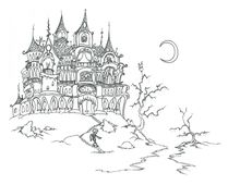 Coloriage Haunted House with skeleton - bluebison.net