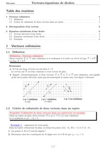 Vecteurs et équations de droite : cours de 1er S