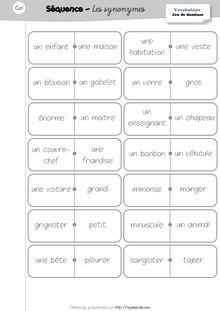 Vocabulaire CE1 – Les synonymes - Le jeu de domino