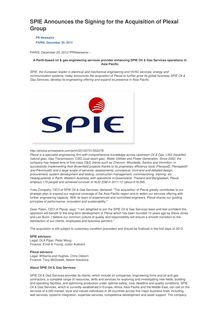 SPIE Announces the Signing for the Acquisition of Plexal Group