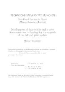 Development of thin sensors and a novel interconnection technology for the upgrade of the ATLAS pixel system [Elektronische Ressource] / Michael Beimforde