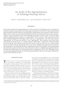 An Audit of the Appropriateness of Teletriage Nursing Advice