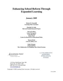 Enhancing School Reform through Expanded Learning