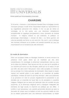 Définition de : CHARISME - Louis HOURMANT