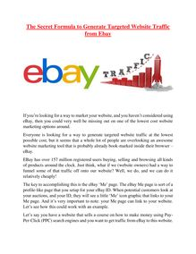 The Secret Formula to Generate Targeted Website Traffic from Ebay