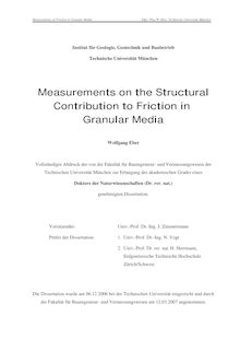 Measurements on the structural contribution to friction in granular media [Elektronische Ressource] / Wolfgang Eber