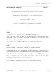 Brevet Français 2016 - Rédaction - Série générale