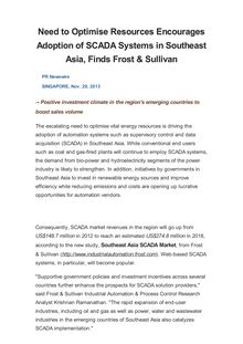 Need to Optimise Resources Encourages Adoption of SCADA Systems in Southeast Asia, Finds Frost & Sullivan