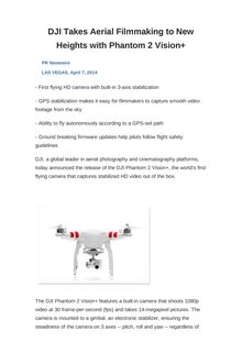 DJI Takes Aerial Filmmaking to New Heights with Phantom 2 Vision+