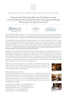 Oriental Hotel Hiroshima Becomes First Hotel in  Japan to Join ...