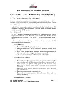"Policies and Procedures - Audit Reporting Auto Pilot (""ARAP"")"