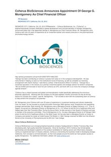 Coherus BioSciences Announces Appointment Of George G. Montgomery As Chief Financial Officer