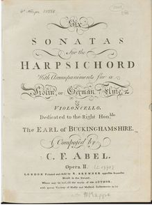 Partition clavecin score, 6 clavecin Trios, Op.2, 6 Sonatas for the Harpsichord with Accompaniments for a Violin or German Flute, and Violoncello