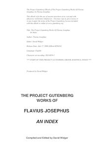 The Project Gutenberg Works Of Flavius Josephus - An Index