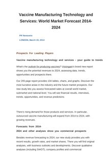 Vaccine Manufacturing Technology and Services: World Market Forecast 2014-2024