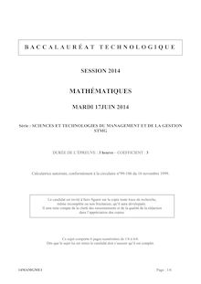 Sujet bac 2014 - Série STMG - Maths