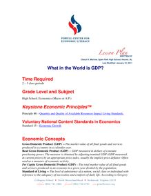 Cheryl Morrow - What in the World is GDP? Time Required Grade ...