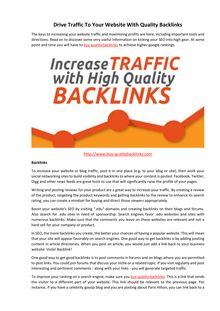 Drive Traffic To Your Website With Quality Backlinks