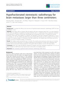 Hypofractionated stereotactic radiotherapy for brain metastases larger than three centimeters