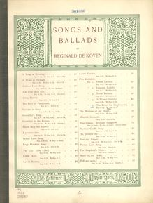 Partition Color Covers, pour Ferry pour Shadowtown, Op.58, The ferry for Shadowtown; a lullaby. Words by Eugene Field. For mezzo-soprano in A. [Voice and piano. Op. 58]