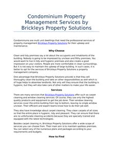 Services of Condominium by Brickleys Property Solutions