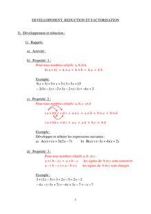 Cours sur le développement, factorisation et réducation