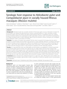 Serologic host response to Helicobacter pylori and Campylobacter jejuni in socially housed Rhesus macaques (Macaca mulatta)
