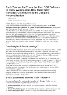 Rank Tracker 6.4 Turns the First SEO Software to Show Webmasters How Their Sites