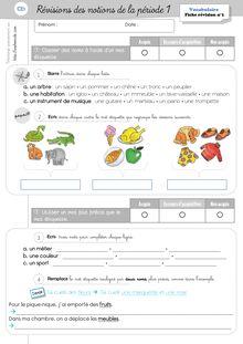 Evaluations CP/CE1 – 2011-2012 - Révisions Vocabulaire CE1 Période 1