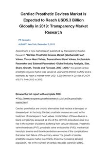 Cardiac Prosthetic Devices Market is Expected to Reach USD5.3 Billion Globally in 2019: Transparency Market Research