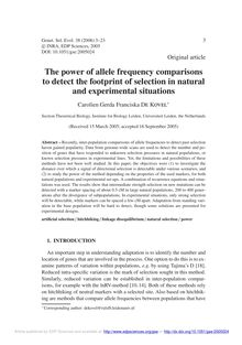 The power of allele frequency comparisons to detect the footprint of selection in natural and experimental situations
