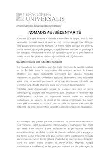 Définition de : NOMADISME /SÉDENTARITÉ - André BOURGEOT