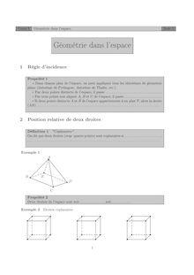 Géométrie dans l'espace Cours 3