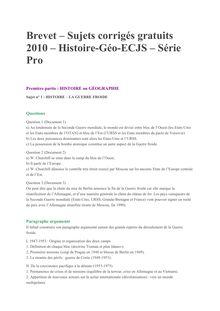 Brevet 2010 Pro Histoire Geographie Corrige