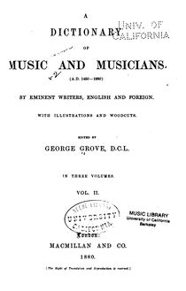 Partition Volume 2 (Improperia to Plain Song), Dictionary of Music et Musicians