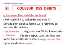 Cours de 1ere S : couleur des objets - physique-chimie