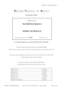 Brevet 2016 Mathématiques