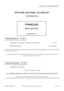 Brevet 2015 :Questions-Réecriture de français
