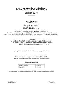 Baccalauréat LV2 Allemand 2016 - Séries générales