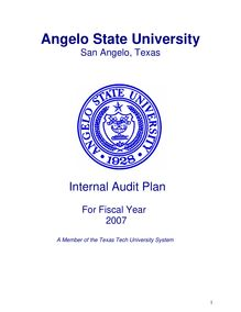 ASU Audit Plan 2007